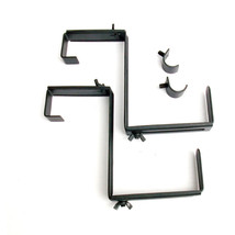 Flower Box Holder Brackets Railing Planter 11.2-in Black Steel Deck Pati... - €13,26 EUR