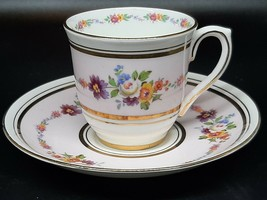 Colcloogh demitasse cup and saucer flowers and gilt on pink and white - $18.00