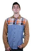 Crooks and Castles Sportsman Khaki Indigo/Orange Plaid Shirt Size M
