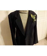 Women M L XL 14 16 Coat Jacket Blazer Career Black Button Knit Long Coll... - $24.76