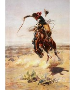 A Bad Hoss by Charles Russell Cowboy Hat Western Bucking Bronco Print 18... - $197.01