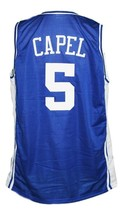 Jeff Capel #5 Custom College Basketball Jersey New Sewn Blue Any Size image 2