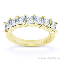 Forever Brilliant Square Cut Moissanite 14k Yellow Gold 7Stone Ring Wedd... - €594,94 EUR+