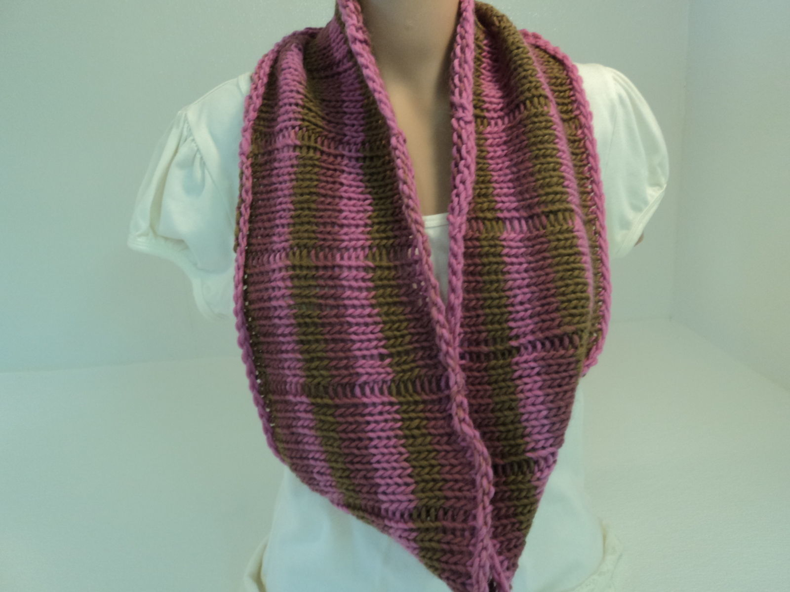 Handcrafted Cowl Wrap Rose Green Brown Alpaca Highland Wool Female Striped