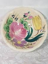 Vintage Blue and Pink Hand Painted Cabbage Rose & Tulip Flowers Serving Bowl