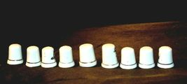 9 Porcelain Thimbles of Birds, Flowers and Butterfly's AB 273a Vintage image 4