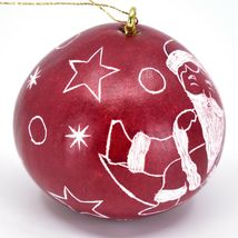 Handcrafted Carved Gourd Santa on Moon Red Christmas Ornament Made in Peru image 4