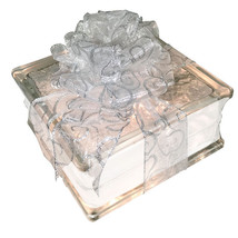 "Lighted Glass Block with 4"" White Border - Sheer White Silver Swirl Ribbon - $34.60"