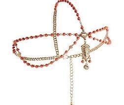Bride Frontlet Forehead Chain Retro Tassel Headdress, Red Bead