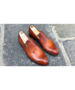 New Men's handmade leather Formal Shoes,Men's Whole Patina Loafers Dress... - $188.09