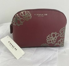 New Coach Cosmetic Bag Silver Floral Etched Promotional Item Red Zip M7 - $58.79