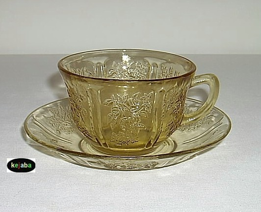 Primary image for Sharon Amber Cup And Saucer Cabbage Rose Federal