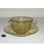 Sharon Amber Cup And Saucer Cabbage Rose Federal - $11.50