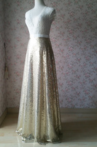 Gold Sequined Maxi Skirt High Waist Full Sequined Wedding Bridesmaid Maxi Skirts image 3