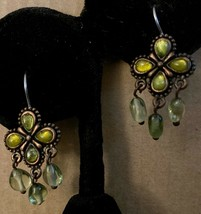 Vintage Brass Flower Green Moonglow Glass Bead Dangle Earrings-Liz Clair... - $17.70