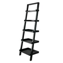 Transitional Solid Wood Space Saving Bellamy Leaning Shelf, Black Finish - $139.99