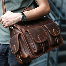 Sale, Horse Leather Messenger Bag, Handmade Briefcase, Men Tote Bag image 3
