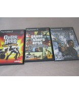 Lot of 3 PS2 PlayStation Games Guitar Hero World Tour, grand theft, Dark... - $24.99