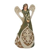 Roman Irish Angel Woodcut Look Celtic Cross 7 Inch Resin Stone Tabletop ... - $32.16