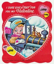 Vintage Valentine Lollipop Card Train Engineer 1960's E. Rosen Unused - $7.91