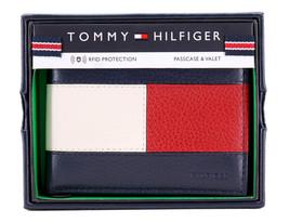 Tommy Hilfiger Men's Premium Leather Double Billfold Passcase Rfid Wallet Navy