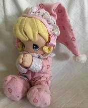 Precious Moments Vintage Praying Girl Blonde Pink Pajamas Plush Beanie D... - $13.85