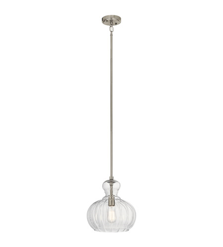 Primary image for Kichler 43955NI Riiera Pendants 12in Brushed Nickel Glass 1-light