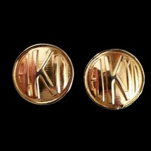 Vintage Anne Klein Logo Clip On Earrings Gold Tone Round Women's Signed - $9.89