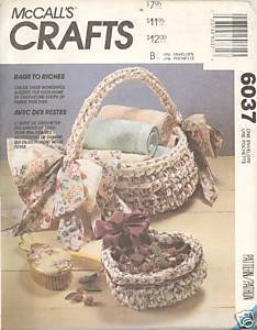 New Rags to Riches Rag Rug Basket Chair Seat McCalls 6037 Pattern McCall's