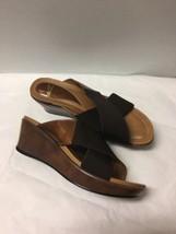 DANSKO ~ Brown LEATHER And Elastic WEDGE SLIDE STRAPPY SANDAL Size 38 - $26.32
