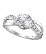 10k White Gold Round Diamond 2-stone Bridal Wedding Engagement Ring 5/8 Ctw - $890.64