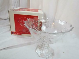 Vintage Soga Crystal Etched Flower Scalloped Garden Terrace Pedestal Can... - $18.99
