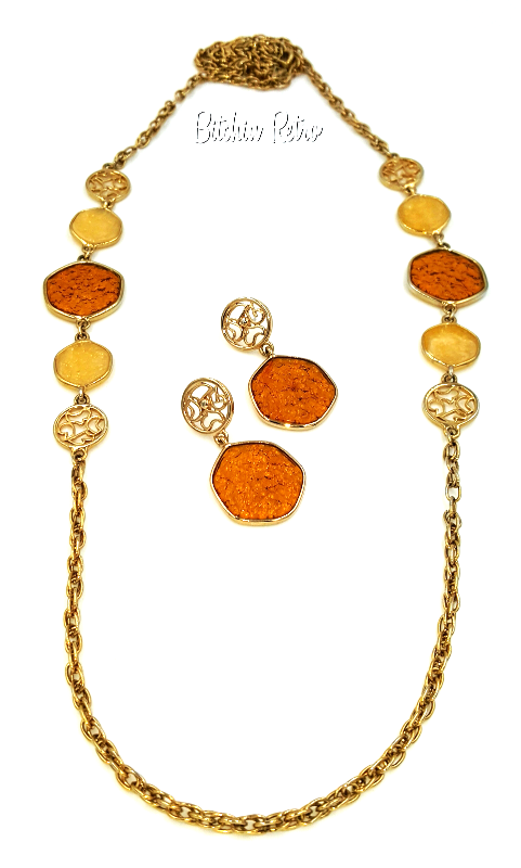 Sarah Coventry Vintage Necklace and Earring Set 1974 Taste of Honey Demi Parure