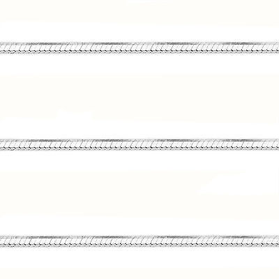 1mm 14k White Gold 925 Sterling Silver Snake Link Italian Chain Necklace