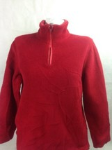 Talbots Women's Sweater Red Pull Over Long Sleeve Zip Neck Size Small Bi... - $9.50