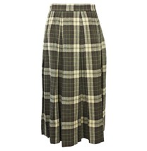 Vtg 50s Women's Midi Skirt Small High Waist Green Grey Plaid Pleats Rock... - $29.95