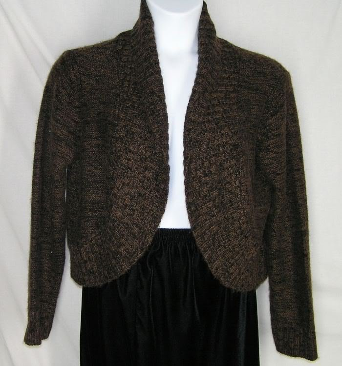 Primary image for Chicos Black Brown Marled Shrug Sweater Cardigan 3 XL