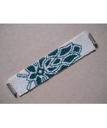 Cuff Bracelet, Green & White Lotus Motif, Peyote Stitch, Tube Clasp - $49.00