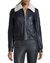 New Trimmed Faux Fur Collar Women's Genuine Soft Lambskin Leather biker Jacket