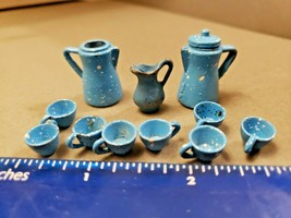 Teeny Tiny Vintage Dollhouse Dishes Blue Spackle Metal Pitchers and Tea ... - $23.70