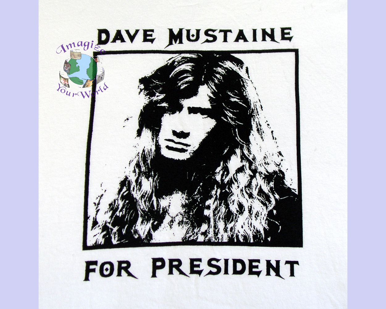 2XL - 3XL Dave Mustaine For President T-Shirt basic 50/50 white yellow H5170