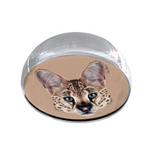 """Serval Cat Head Illustration 2"""" Crystal Dome Magnet or Paperweight - $15.99"""