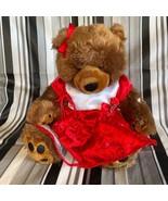 "Build a Bear Plush Brown Teddy Bear Toy 17"" Stuffed Animal Red Dress Bow... - $32.43"
