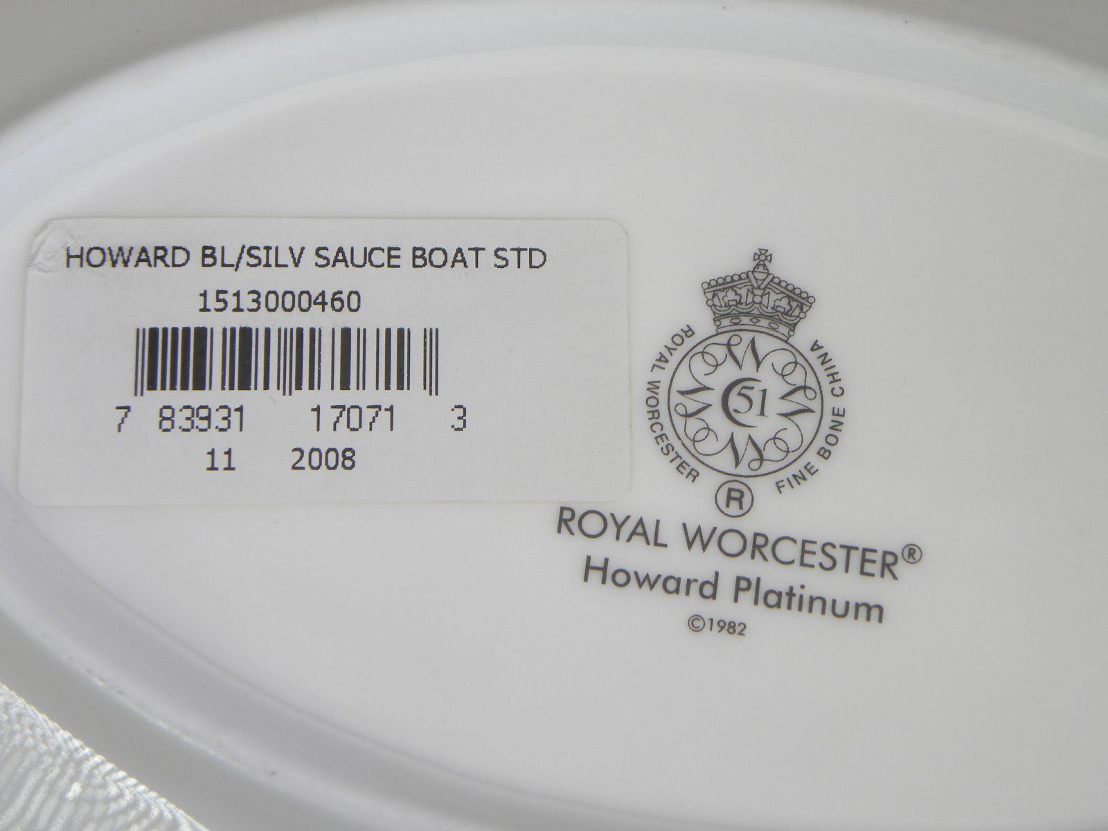Royal Worcester Howard Platinum Gravy Liner NEW WITH TAGS Made in England