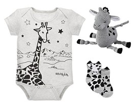 Baby Giraffe Bundle - Onsie Shirt with Socks and Rattle Toy - Natural Gray - $48.54