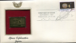 SPACE EXPLORATION - Jupiter First Day Gold Stamp Issue Oct. 1, 1991 - $7.50