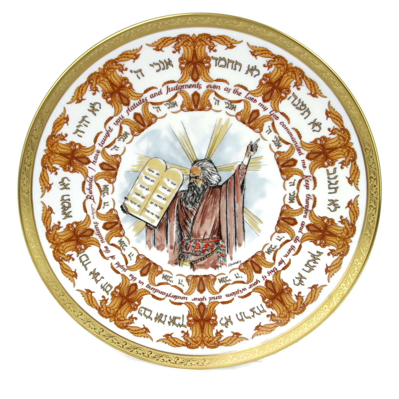 1979 Laszlo Ispanky Goebel The Ten Commandments Second Edition Plate With Box - $74.76