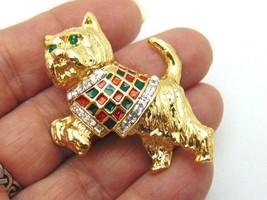 Vintage Plaid Scottie Dog Pin Terrier Yorkie Westie Rhinestone Crystal B... - $16.78