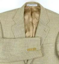 Hickey Freeman Sport Coat Size 39 Regular Wool Linen Blend Tan Brown Hou... - $87.07