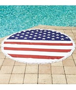 Stars and Stripes Beach Towel Round Two Person American Flag Soft Quick ... - $24.49